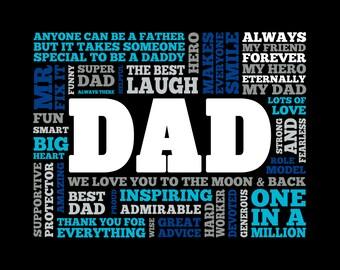 Dad Heart Word Art * * Digital Image * * DIY Printable * *