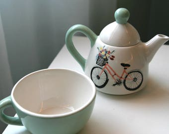 Hand Painted Ceramic Bicycle Tea Party for One