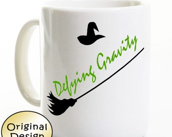 """Wicked Mug - """"Defying Gravity"""" - Show Coffee Mug Inspired by Wicked Musical - Gift for Broadway / Theater Fan - Birthday - Elphaba Witch"""