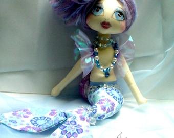 MERMAID doll, art doll, cloth doll, gift for her, original ooak keepsake textile doll handmade dolls soft sculpture  unique LORELEI LEFROST