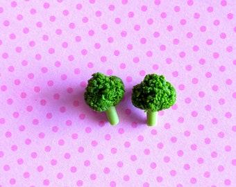 Broccoli Stud Earrings - Miniature Food Jewelry - Inedible Jewelry - Kid's Jewelry - Vegetable Jewelry - Gifts for Her, Broccoli Jewelry