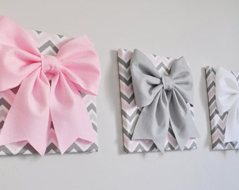"""SET OF THREE - Wall Decor - Large Gray Pink and White Bows on Pink and Gray Chevron 12 x12"""" Canvases Wall Art- Baby Nursery Decor above crib"""