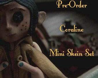 Pre-Order: Coraline Inspired Mini Skein Set - Hand Dyed Yarn - 130 Grams