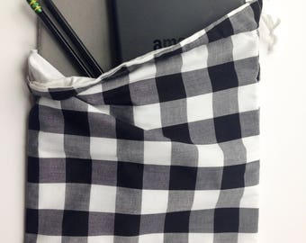 drawstring bag, black gingham fabric, Easter gift idea, preppy teen gift, journal pouch, travel bag, shoe pouch, overnight bag, storage bag