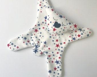Star spangled Bear Lovie, Minky Bear, Stuffed Animal, Baby Shower Gift, 4th of July Gifts, Nursery Gift, Patriotic Gift, Baby Boy, Baby Girl