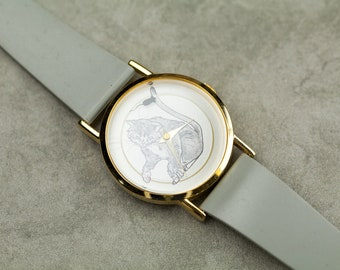 Vintage Cat and Mouse quartz watch with mouse second hand and grey rubber strap