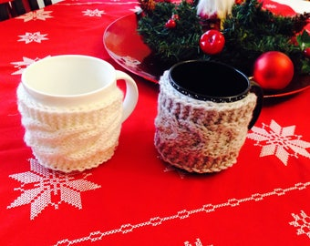 Mug Hugger Coffee Cozy, Gift, Cabled cup cozy, Coffee warmer, Cup cozy