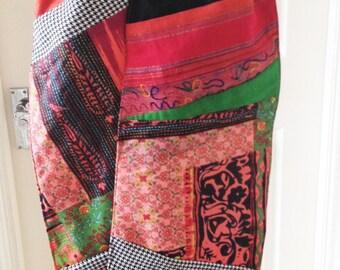 Hippie Scarf, Indian Fabric Scarf, Bohemian Scarf, Gypsy Scarf, Womens Fabric Scarf, Ooak Fabric Scarf, Ooak Patchwork Scarf