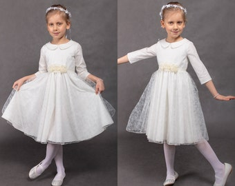 First communion dress Wedding dress Communion dress Flower girls dress Lace girl dress Vintage wedding dress Junior bridesmaids dress