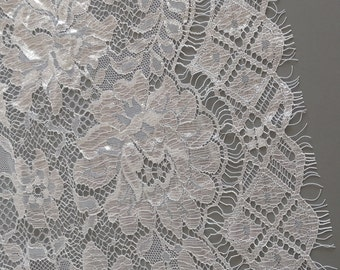 White Lace Fabric by the 1/2 Yard, White Shiny Chantilly Double Scalloped Lace