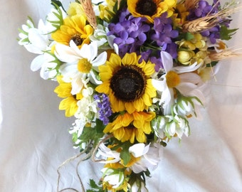 Cascade Sunflower wedding Country wedding Sunflower and lilac Bouquet set burlap and twine wrap