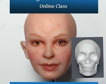 "Online Class ""Making a Female Face over a Skull"" OOAK Art Dolls"