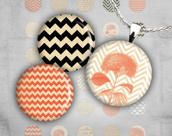 1 inch Circle Images - Digital Collage Sheet - Best for jewelry pendants, bottle caps - Instant Download - CHEVRON BEAUTY