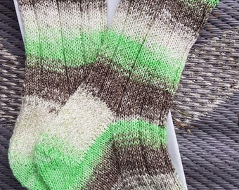 Gorgeous hand knitted socks, size 6-8 US, Coconut Lime colourway, very very soft, mid calf length hand dyed merino/nylon, 80/20 yarn