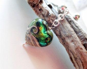 Lampwork keychain. Green key ring. Silver horseshoe key ring. Green heart. Heart key ring. Heart key chain. Heart purse charm.