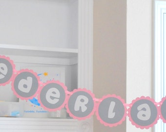 ONEDERLAND Banner, handmade banner, onederland party, first birthday banner, pink and grey  or Name UP to 10 letters  A501