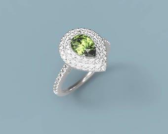 Peridot Engagement Ring White Gold Peridot Ring Pear Peridot Diamonds White Gold Engagement Ring Peridot Halo Engagement Ring Halo Pear