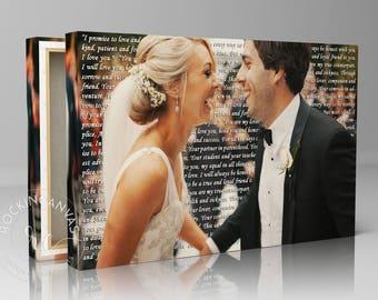 Wedding Song Lyrics, Valentines Day Gift, First Dance Lyrics Wedding Canvas Photo Decor Words Vows lyrics Anniversary or Wedding Art
