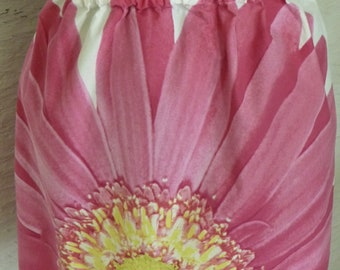 Flower Skirt, Handmade Mini Skirt, Elastic Waist, Large Flower, Pink Flower, Unique Clothing, Recycled Pillowcase,Spring Summer,Earthy Skirt