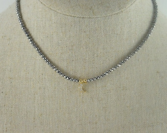 Beaded Choker Necklace, Crescent Moon Charm Necklace