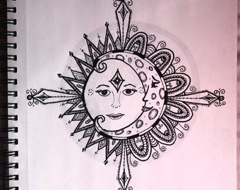 Sun and moon pen and ink drawing