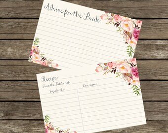 Advice Cards for Bridal Shower. Advice for the Bride Cards Printable, Floral Recipe Cards Printable. Recipe Cards 4x6, Instant Download