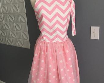 Pretty in Pink Apron, Vintage Apron, Pinafore, Chef Apron, Double layer apron