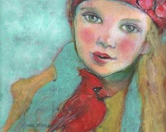 ACEO art reproduction - Cardinal Song