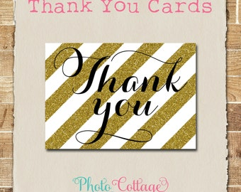 Thank You Cards, Thank You Card, Glitter Gold Thank You, Bridal Thank You, Wedding Thank You, TY101