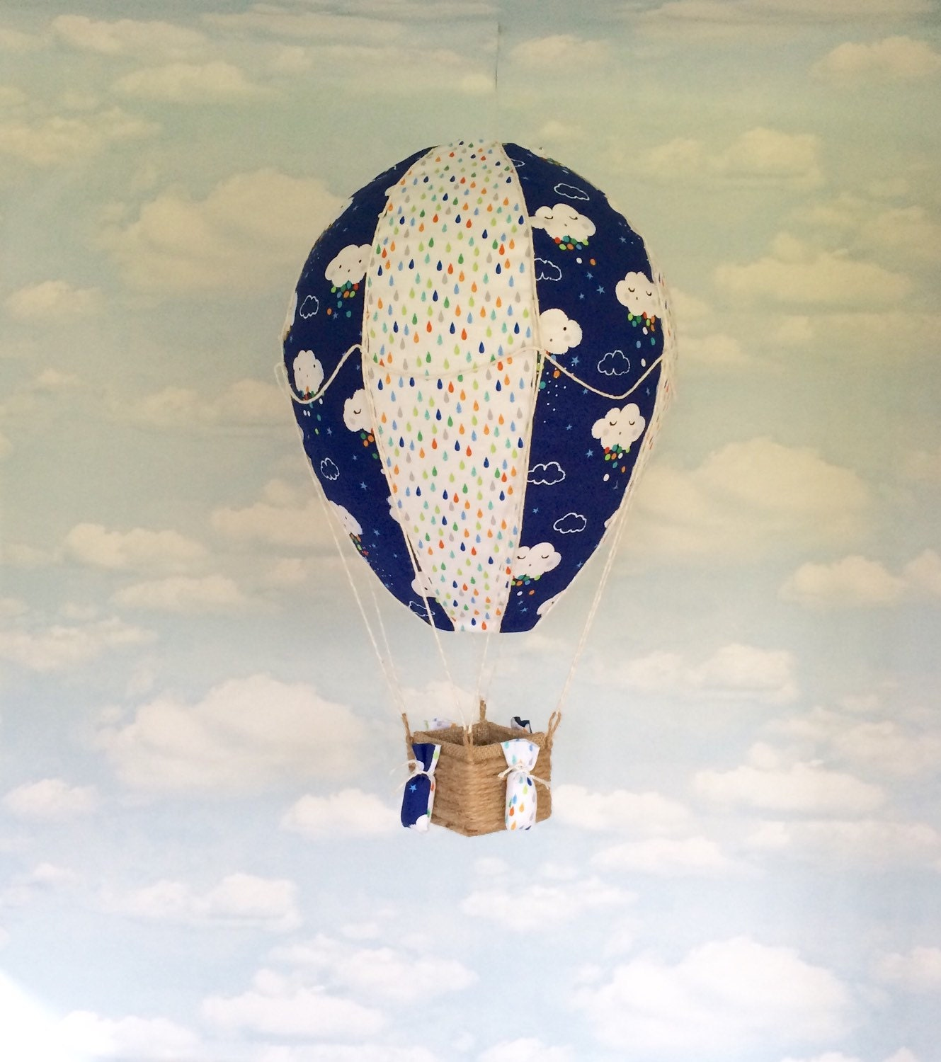 Hot air balloon light shade clouds and raindrops new baby