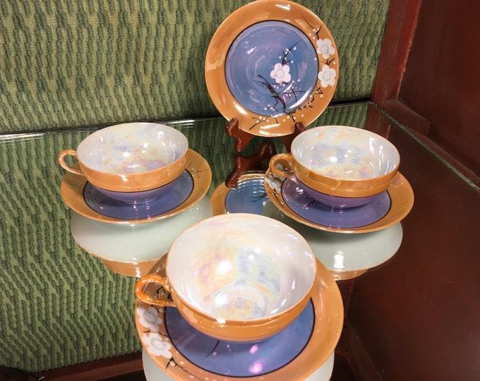 Hand painted Japanese Takito Art Deco Lusterware Cherry Blossom Set of Three Tea Cups