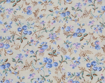 Vintage Tiny Print Pastel Blue and Pink Roses on Yellow Cotton Fabric, Small Print Flower Floral Doll Dress Quilting Sewing, 1 1/3 yard