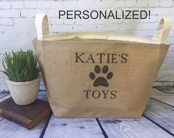 large personalized  lined burlap dog toy basket , burlap storage tote