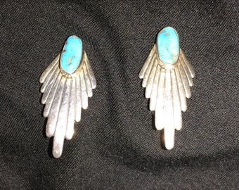 Wayne DeSantis Clip-on Silver and Turquoise Earrings