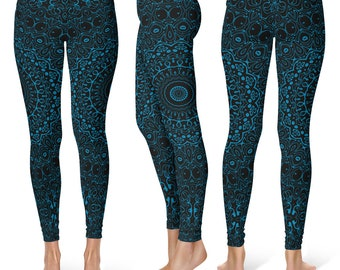 Cerulean Blue Yoga Pants, Black Leggings with Blue Mandala Designs for Women, Printed Leggings, Pattern Yoga Tights