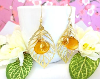 Gold fall leaf citrine and yellow chalcedony drop earrings, coachella gold filled fall foliage leaf dangle earrings