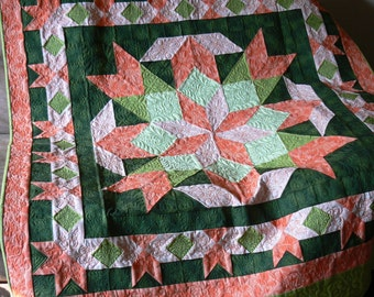 Peach and Green Star Lap Quilt