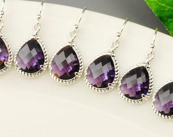 Crystal Teardrop Earrings SET OF 6 - Purple Earrings - Amethyst Earrings - Bridesmaid Jewelry - Wedding Jewelry Set - Silver Drop Earrings