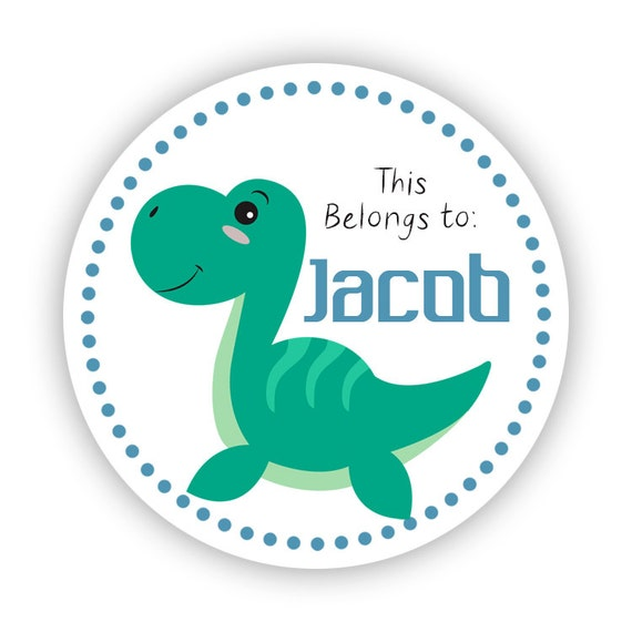 Name tag stickers blue green turquoise dino dinosaur personalized name label stickers 2in round tags back to school name stickers from