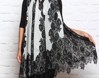 Beautiful White Pashmina Shawl Wrap with Black Chantilly Lace