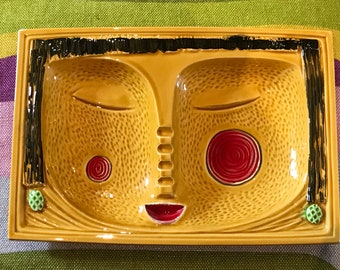 Funky abstract ceramic  face ashtray