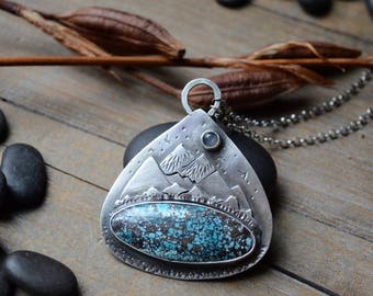 Red River Turquoise Mountainscape Talisman Necklace