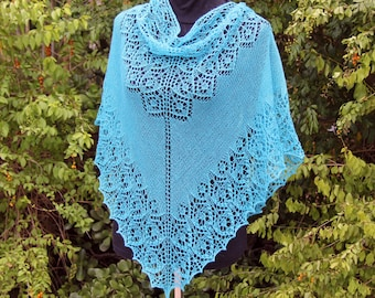 Hand Knitted Beaded Lace Shawl/Wrap