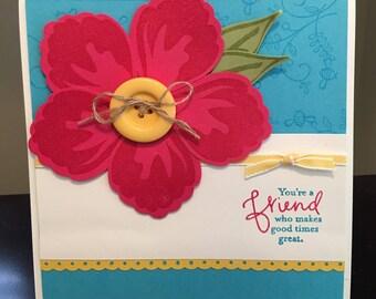 Handmade Flower Card, Friend, Thank You, Feminine