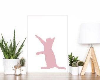 Pink Cat Print, Modern Cat Print, Digital Cat Print
