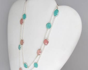 chalcedony necklace, station necklace, blue chalcedony necklace, pink chalcedony necklace, pink and blue necklace, long necklace, two strand