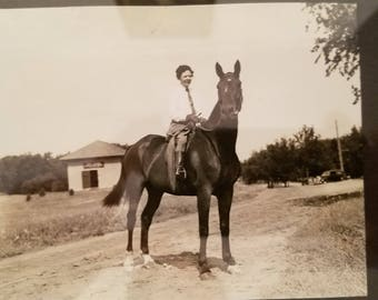 Equestrian Woman on her Stallion c. 1940s Black and White Film Photograph