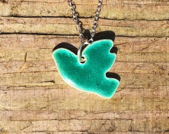 Green Flying Bird Pendant