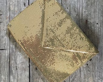 Vintage Whiting and Davis Gold Tone Mesh Clutch