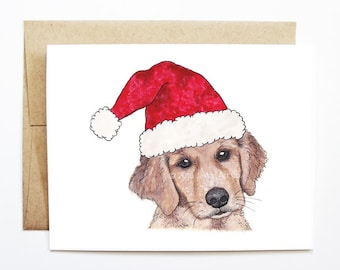 Christmas Card - Golden Retriever, Dog Christmas Card, Cute Christmas Card, Holiday Card, Xmas Card, Seasonal Card, Christmas Card Set